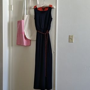 Enfocus studio navy and orange maxi dress
